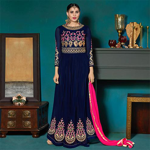Majestic Navy Blue Colored Partywear Embroidered Abaya Style Anarkali Suit