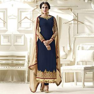 Blue Embroidred Straight Cut Suit