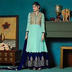 Opulent Turquoise Green Colored Partywear Embroidered Anarkali Suit