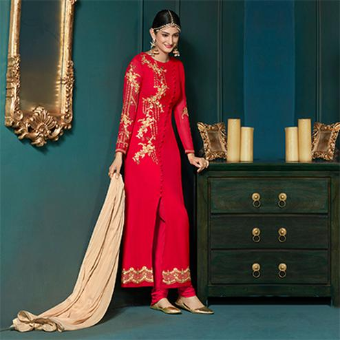 Beautiful Red Colored Partywear Embroidered Suit