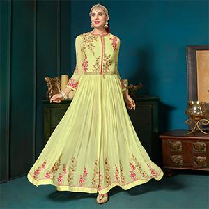 Elegant Light Yellow Colored Partywear Embroidered Anarkali Suit