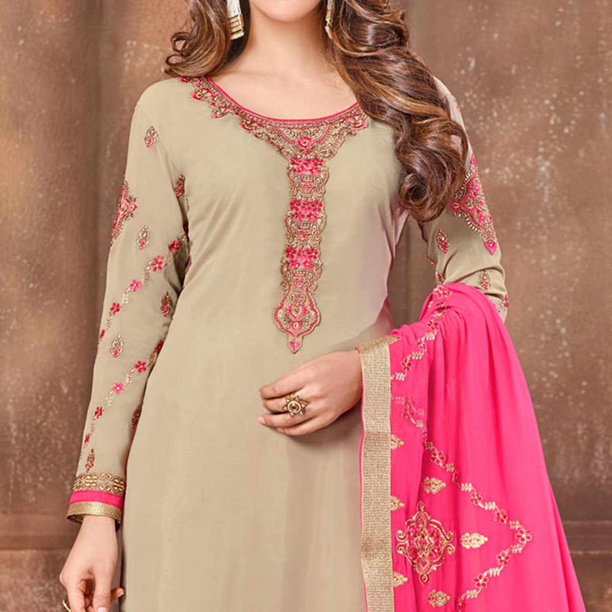 Elegant Light Brown Colored Partywear Embroidered Georgette Suit
