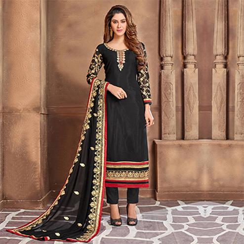 Attractive Black Colored Partywear Embroidered Georgette Suit