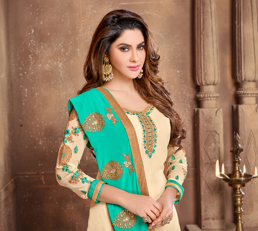 Mesmerising Beige Colored Partywear Embroidered Georgette Suit