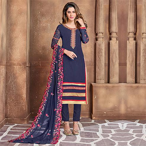 Adorning Navy Blue Colored Partywear Embroidered Georgette Suit