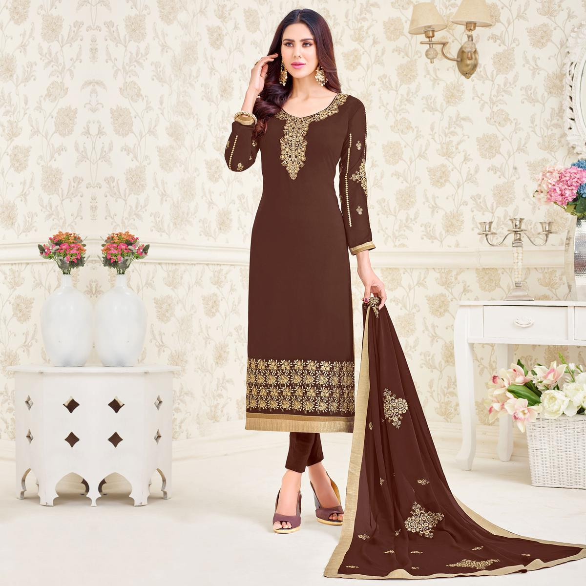 Dazzling Dark Brown Colored Partywear Embroidered Georgette Suit
