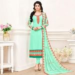 Majestic Aqua Green Colored Partywear Embroidered Georgette Suit