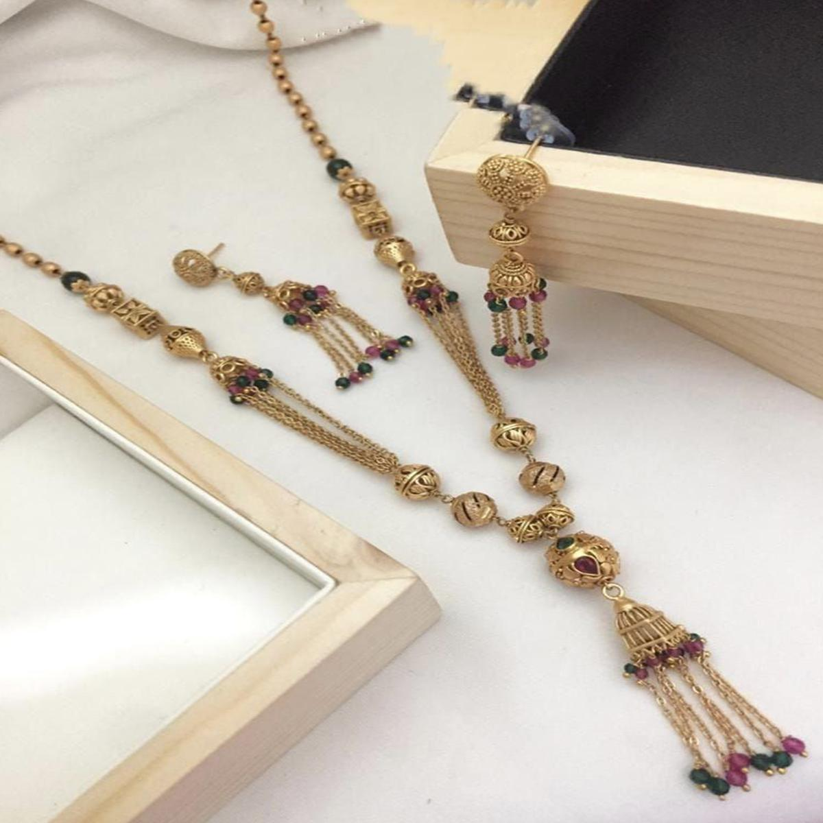 VIHA - Copper High Gold Plated Necklace(Mala) Set For Women And Girl