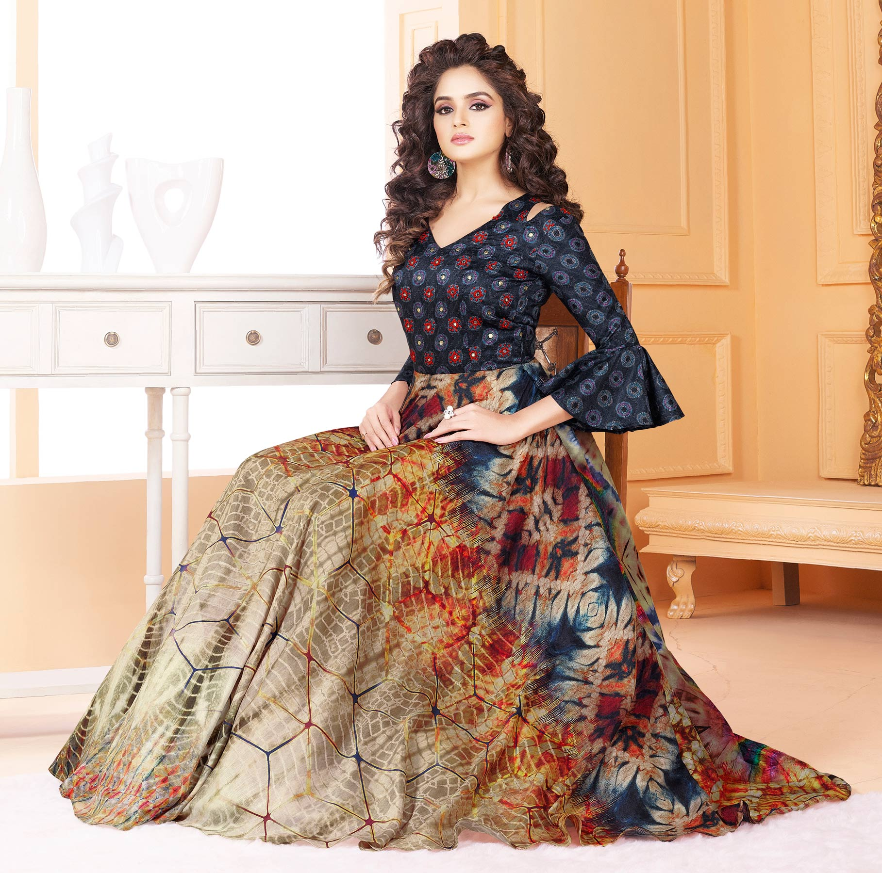 Attractive Multicolored Partywear Digital Printed Tussar Art Silk Gown