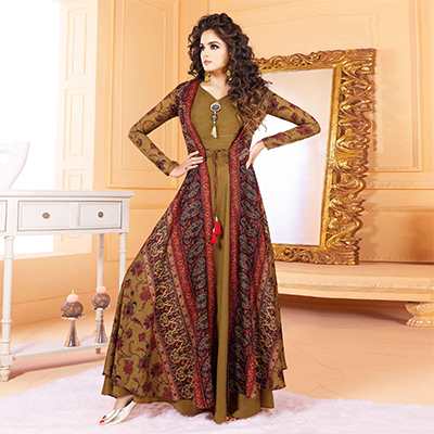 Trendy Olive Green Colored Partywear Digital Printed Tussar Art Silk Gown
