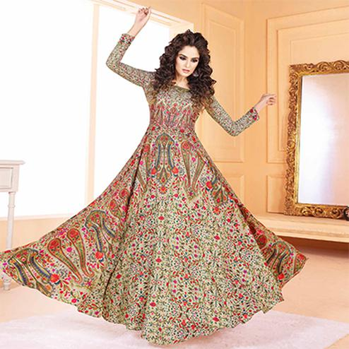 Eye-Catching Beige Colored Partywear Digital Printed Tussar Art Silk Gown