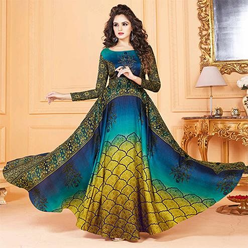 Desiring Multi Colored Partywear Digital Printed Tussar Art Silk Gown