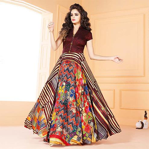 Mesmerising Maroon Colored Partywear Digital Printed Tussar Art Silk Gown