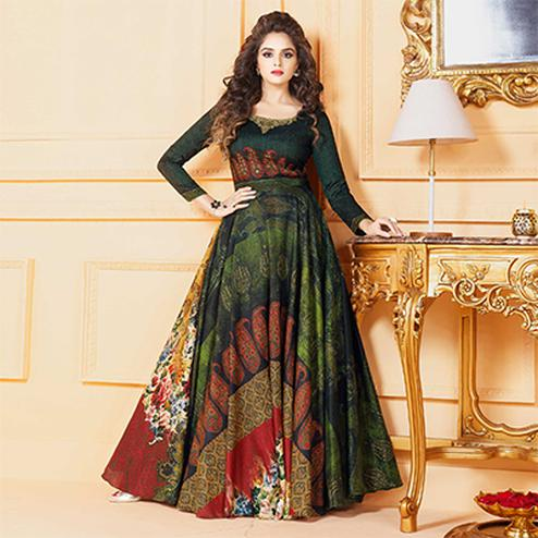 Stunning Dark Green Colored Partywear Digital Printed Tussar Art Silk Gown