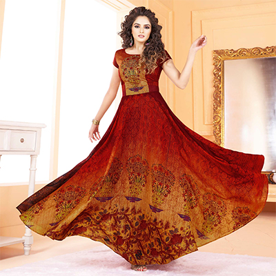Irresistible Red-Yellow Colored Partywear Digital Printed Tussar Art Silk Gown