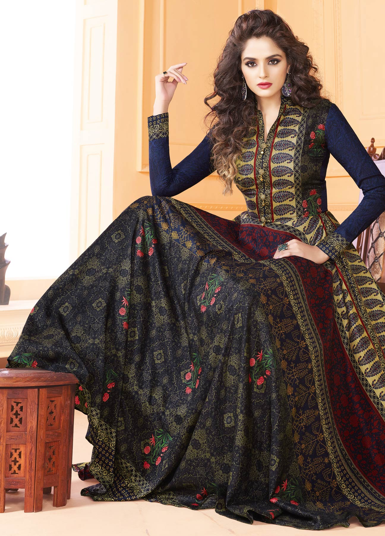 Elegant Multi Colored Partywear Digital Printed Tussar Art Silk Gown