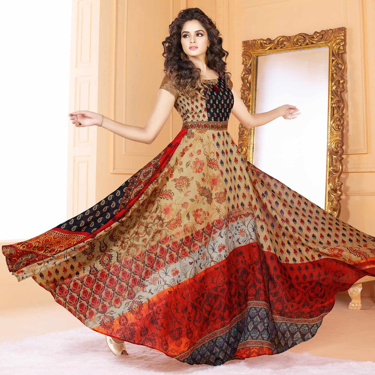 Majestic Beige Colored Partywear Digital Printed Tussar Art Silk Gown