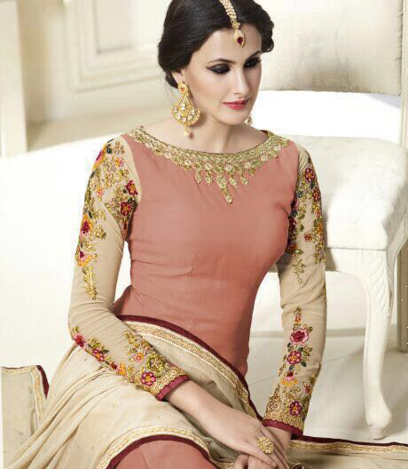 Peach Embroidered Party Wear Suit
