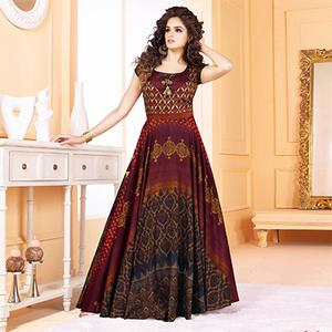 Beautiful Wine Colored Partywear Digital Printed Tussar Art Silk Gown