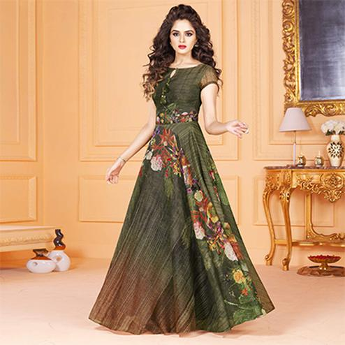 Perfect Green Colored Partywear Digital Printed Tussar Art Silk Gown