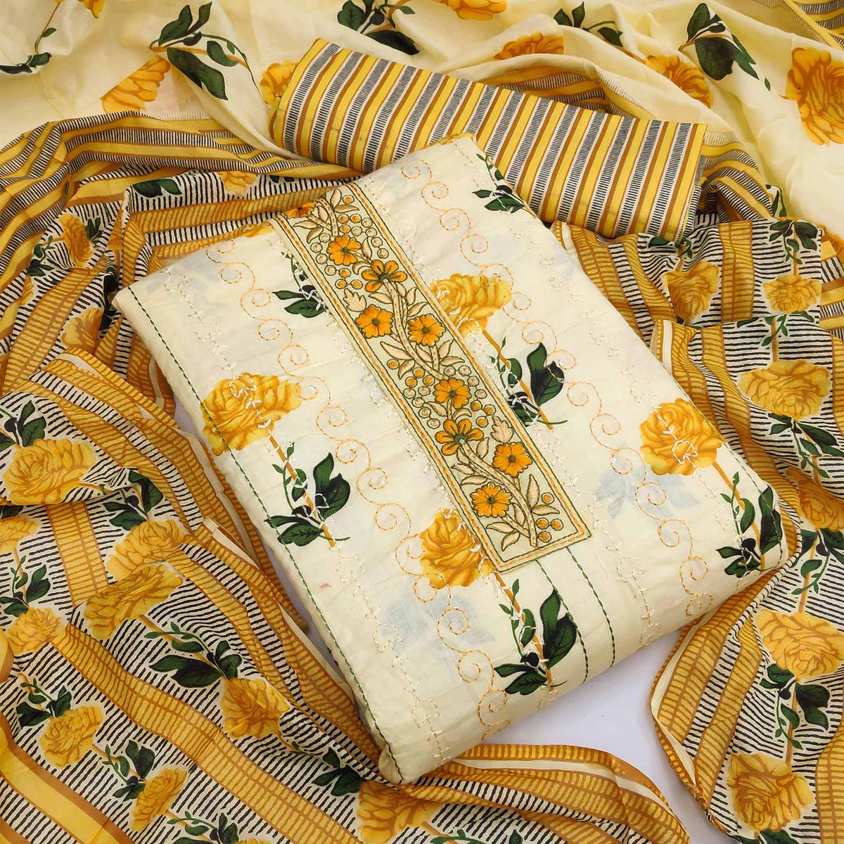 Light Yellow Casual Printed Cotton Dress Material