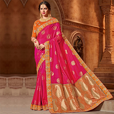 Pretty Pink Colored Partywear Embroidered Two Tone Silk Saree