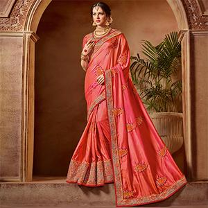 Beautiful Pink Colored Partywear Embroidered Two Tone Silk Saree