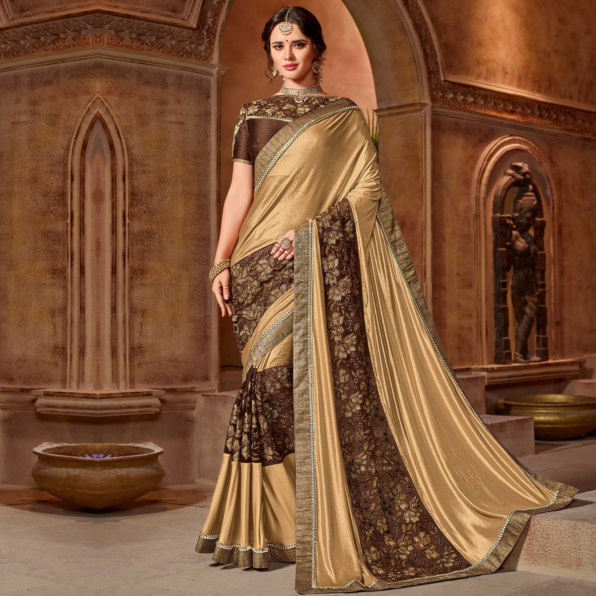 Alluring Beige-Brown Colored Partywear Embroidered Glitter Lycra-Net Saree