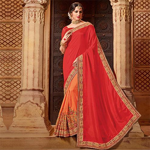 Adorable Red-Orange Colored Partywear Embroidered Glitter Lycra-Net Saree