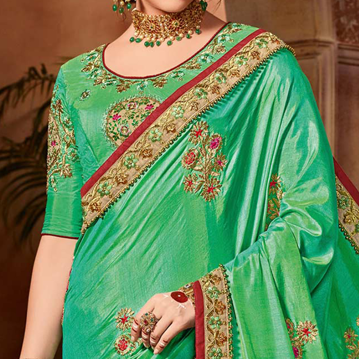 Trendy Green Colored Partywear Embroidered Two Tone Silk Saree