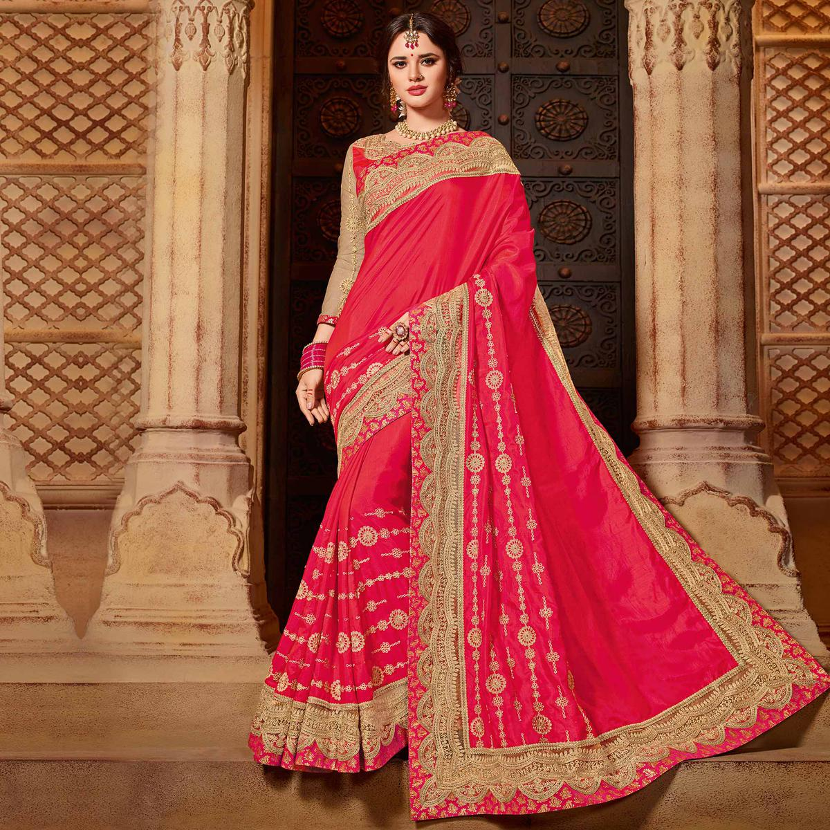 Ravishing Red Colored Partywear Embroidered Two Tone Silk Saree