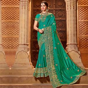 Graceful Green Colored Partywear Embroidered Two Tone Silk Saree