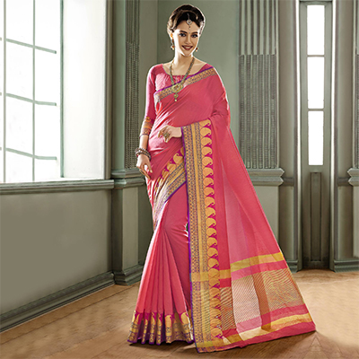 Pink Cotton Silk Woven Saree