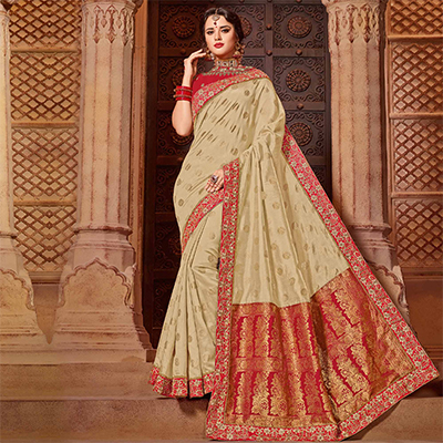 Blooming Beige Colored Partywear Embroidered Two Tone Silk-Jacquard Saree