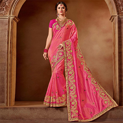 Eye-Catchy Pink Colored Partywear Embroidered Two Tone Viscose Saree