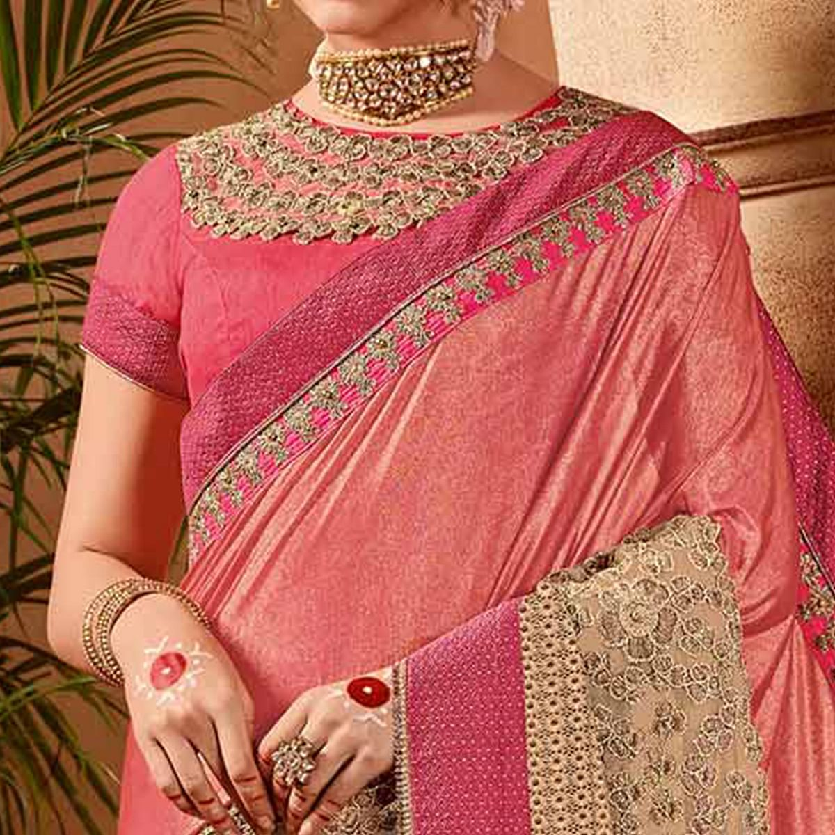 Awesome Pink-Beige Colored Partywear Embroidered Glitter Lycra-Net Saree