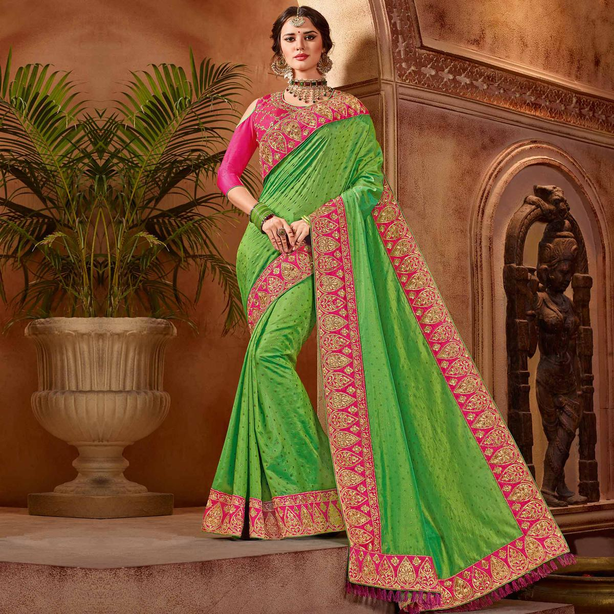 Sizzling Green Colored Partywear Embroidered Two Tone Silk Saree