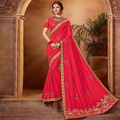 Charming Red Colored Partywear Embroidered Two Tone Silk Saree