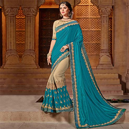 Dazzling Cyan-Beige Colored Partywear Embroidered Two Tone Silk Saree