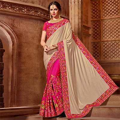 Stunning Beige-Pink Colored Partywear Embroidered Glitter Lycra Saree