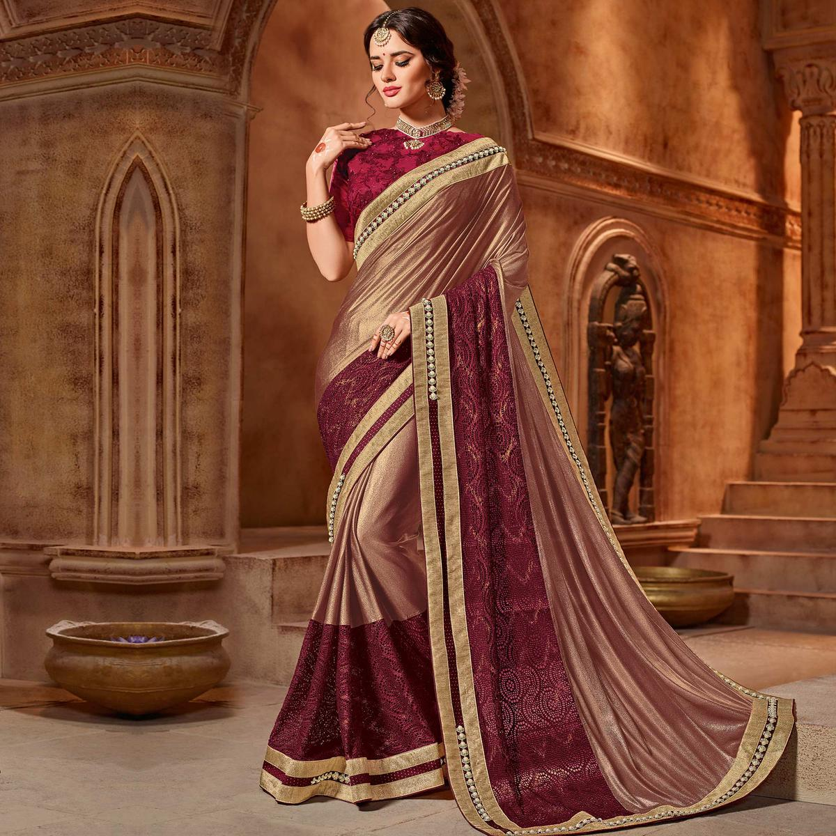 Cool Brown-Maroon Colored Partywear Embroidered Two Tone Glitter Lycra Saree