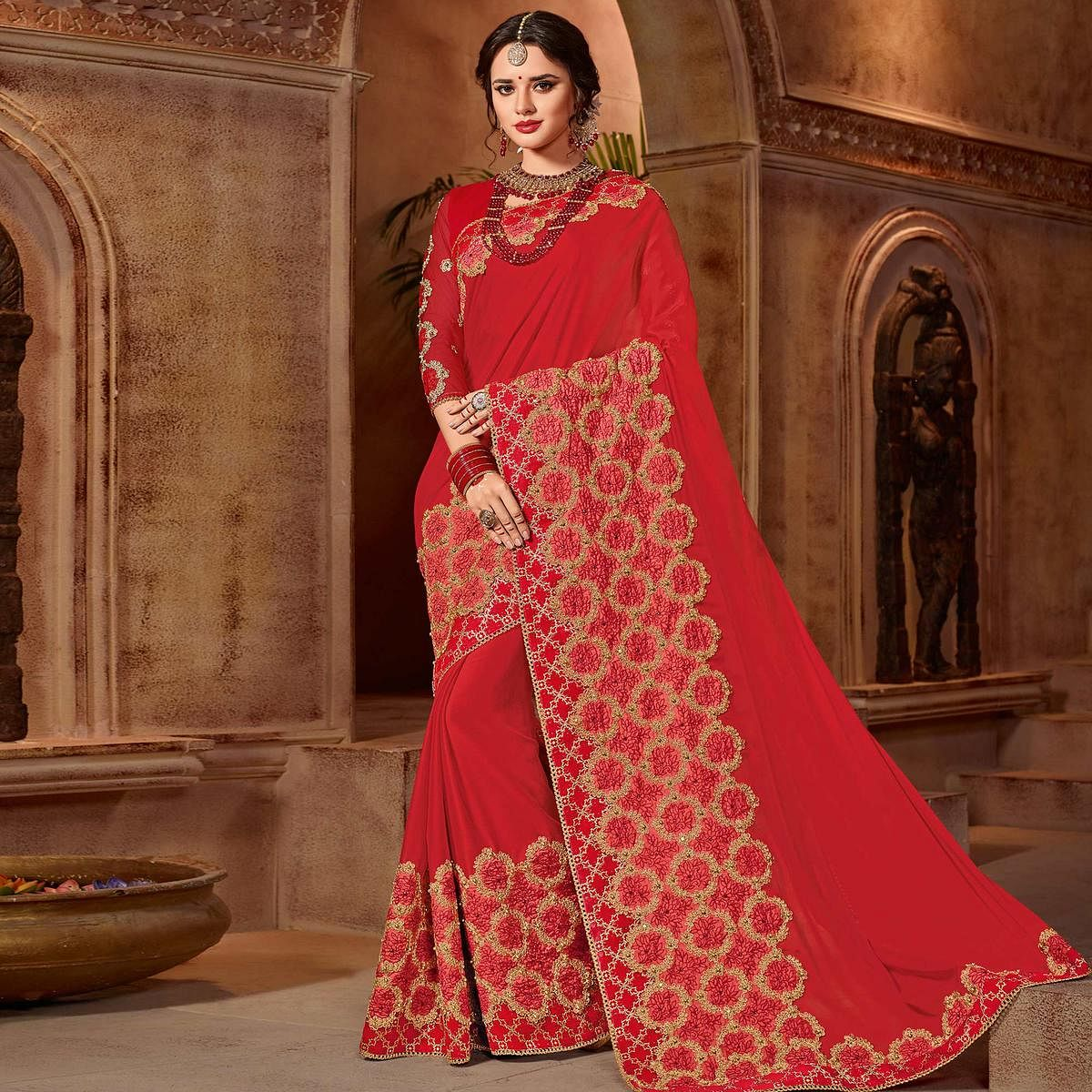 Attractive Red Colored Partywear Embroidered Bright Georgette Saree