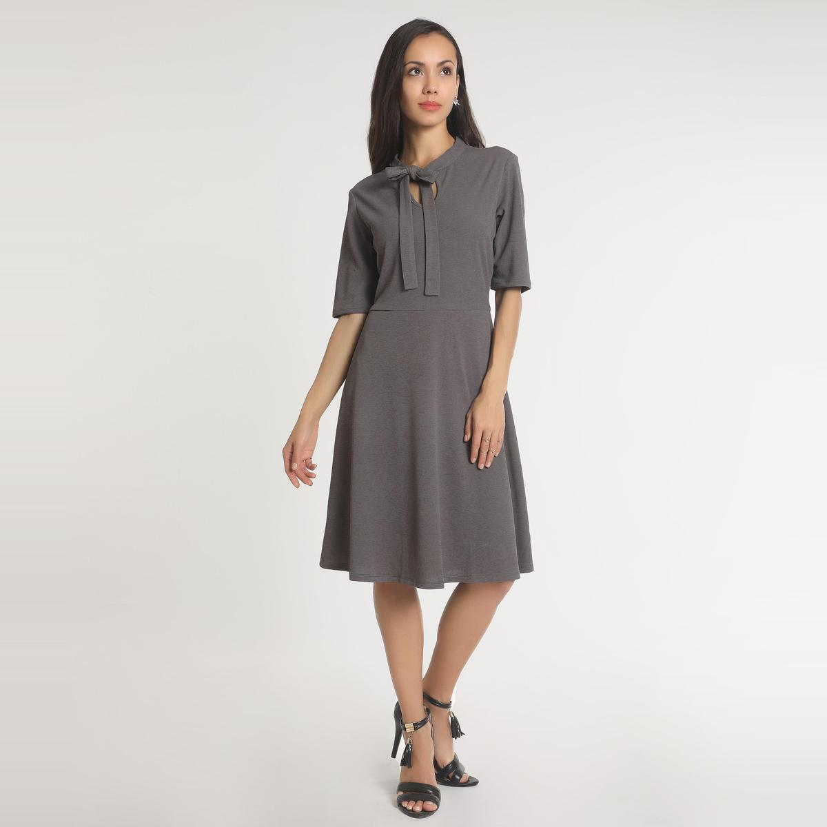 Grey Casual Wear A-line Round Neck Polyester Dress