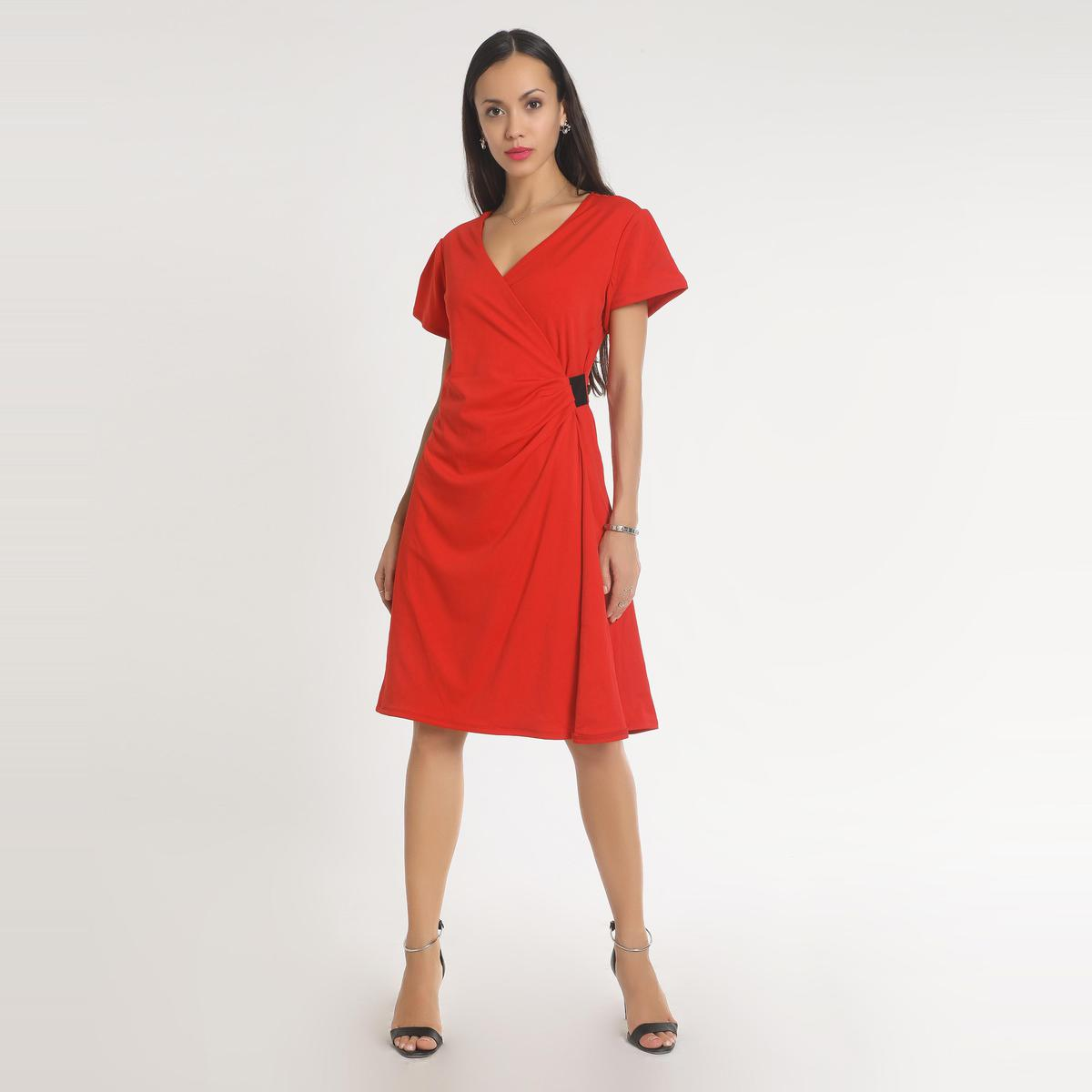 Red Casual Wear A-line V Neck Polyester Dress