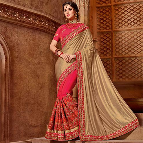 Stylish Gold-Pink Colored Partywear Embroidered Glitter Lycra Saree