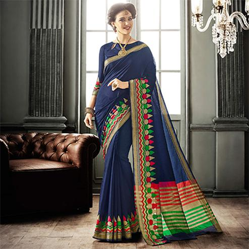 Navy Blue Cotton Silk Saree