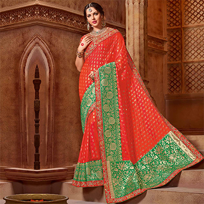 Glorious Orange-Green Colored Partywear Embroidered Two Tone Silk Saree