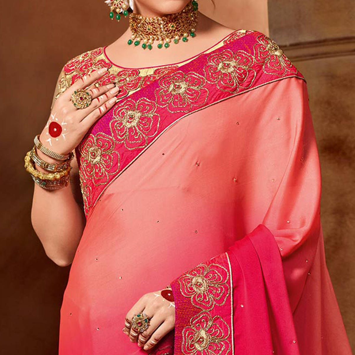 Gorgeous Shaded Pink Colored Partywear Embroidered Bright Georgette Saree