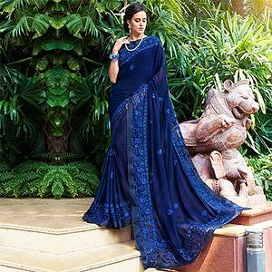 Irresistible Navy Blue Colored Partywear Embroidered Georgette Saree