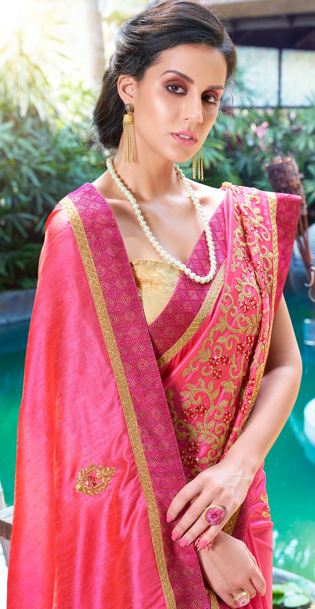 Desiring Fuschia Pink Colored Partywear Embroidered Art Silk Woven Saree